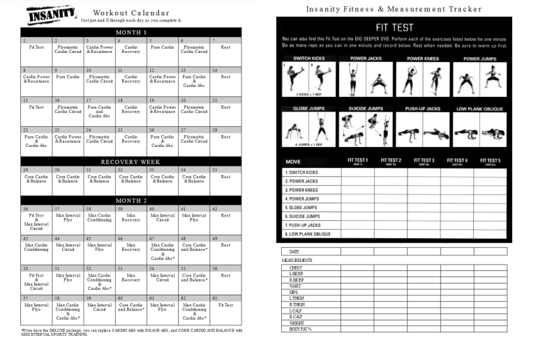 Insanity Workout Fit Test Day 1 – Insanity Worksheets